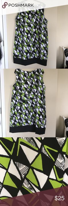 """Black, Lime Green n White Geometric Pattern Sheath Black, Lime Green n White Geometric Pattern Sheath. Boat neck. Easy care fabric - 97% polyester/ 3% Spandex. 41"""" from shoulder to hem. Ronni Nicole Dresses"""