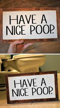"""Have a nice poop"" Farmhouse bathroom sign #Farmhouse #Rustic #Bathroom #Cottage #WallArt #HomeDecor #Ad #Poop"