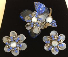 Vintage Miriam Haskell Brooch Earring Set-Blue Pate de Verre Glass/RS/Silvertone #MiriamHaskell