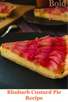 Today's recipe will be for ginger-infused Rhubarb Custard Pie with rhubarb jelly on top in a sablee tart shell. A beautiful recipe for a seasonal rhubarb. Rhubarb Jelly, Rhubarb Custard Pies, Rhubarb Tart, Custard Tart, Risotto Recipes, Pie Recipes, Tasty, Yummy Food