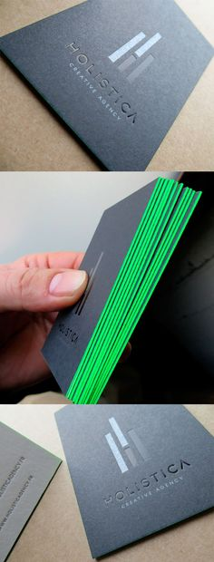 Sleek Neon Green Edge Painted Black Letterpress Business Card