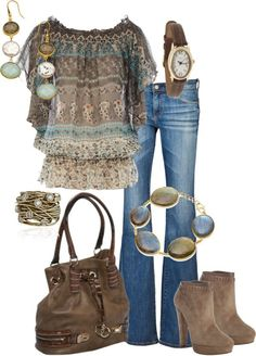Nice flared jeans, no holes. I really like this top. Cute bag.  Heels on boots are impossible for me, but cute.