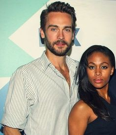 "Tom Mison (and Nicole Behaire) are in one of my favorite shows ""Sleepy Hollow""! I like the long hair look he wears in the show :) Meet Black Women, Black Woman White Man, Mixed Couples, Cute Couples, Interracial Family, Interracial Art, Tom Mison, Wmbw, Sleepy Hollow"