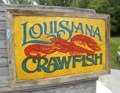 Mudbugs & Beer Cajun Print from an original hand painted and lettered sign. Cajun Art, Louisiana, New Orleans, Crawfish, Beer Louisiana Crawfish, Louisiana Art, Painted Signs, Hand Painted, Painting On Wood, Wood Paintings, Paper Quilling Designs, Hand Drawn Type, Antique Signs