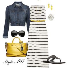 a [striped] maxi dress and denim jacket combo is easy to wear and always looks cool. citron accessories top it off.