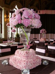 Tall reception centerpieces vases on stacked risers