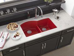 Elkay Quartz Luxe x x Offset Double Bowl Undermount Sink with Aqua Divide, Maraschino
