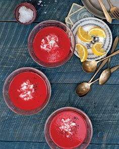 This tangy chilled puree gets its striking color from earthy beets and red bell peppers. They're cooked with shallots and then blended into a silken soup. Goat cheese, a traditional partner to beets, lends creaminess. A squeeze of lemon juice and a sprinkling of sea salt heighten the flavors.