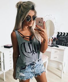 Cute Summer Clothes For Girls 31 Look Fashion, Girl Fashion, Fashion Outfits, Womens Fashion, Swag Outfits, Cool Outfits, Look Con Short, Girls Summer Outfits, Summer Clothes