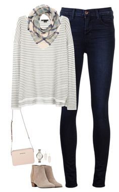 """Pale plaid & stripes"" by steffiestaffie ❤ liked on Polyvore featuring J Brand, Vince, Charlotte Russe, Golden Goose, FOSSIL, Kendra Scott, women's clothing, women's fashion, women and female"