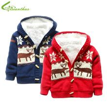 Baby Sweaters Christmas Reindeer Cardigan Jackets Children Fleece Lining Coats Kids Boys Girls Outwear Autumn Winter Clothing(China (Mainland))