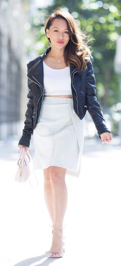 Fall fashion idea, petite style, cropped moto jacket