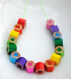 Cute Bright Kids Beads #pencils, #beads, #kids, #DIY, #crafts, #pinsville