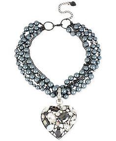 Betsey Johnson Hematite-Tone Gray Imitation Pearl Torsade Heart Frontal Necklace