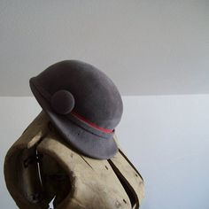 Vintage grey with red velour hat derby style by MattiesMenagerie, $34.99