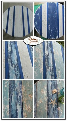 Using Saltwash, a sea salt additive that adds a weathered texture to your projects I was able get an authentic weathered look on my Coastal style table. You too can achieve a similar look using Saltwash.