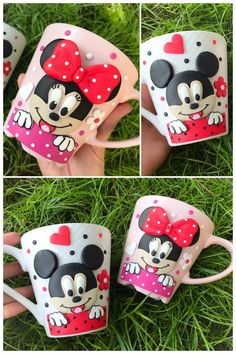 Mickey minnie mouse polymer clay handmade homemade pink disney couple happy smile