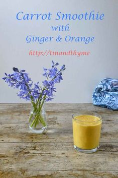 Carrot Smoothie with Ginger & Orange. Recipe for a vibrant nutritious morning drink, full of colour and flavour. It's made with kefir, but you can easily adapt it to be dairy free and vegan. Helps towards your 10-a-day. #TinandThyme #SmoothieRecipe #CarrotRecipe #10aDay #BreakfastRecipe