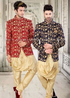 <p>Give a royal & stylish look to your personality with this majestic floral jodhpuri. The kowl style kurta is the highlight of the set and the antique gold floral embroidery all over adds the richess on velvet. It is complimented with cream bottom and a matching pocket square.</p> <p>Mojari shown in the image is only for photography purpose.</p> <p>To choose a design go to the accessories -----> mojari section.</p>