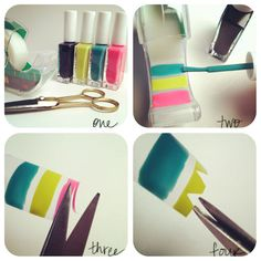 DIY nail stickers. paint scotch tape, let dry, then cut into desired shapes. Top with top coat.
