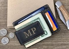 Christmas gifts for Him, Black Leather Money Clip Wallet, Husband gift Mens Leather Wallet, Money Clip wallet Mens Personalized Money Clip Product Details: Magnetic Money Clip 1 ID pocket 6 Card slots Leather Money Clip Black Money Clip Wallet Measures 4.48×0.39×3.14 Gift Box