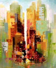 Kunstsamlingen | Artist: Holger Poulsen | Title: Autumn on Manhattan | Height: 100cm,  Width: 80cm | Find it at kunstsamlingen.com #kunstsamlingen #kunst #artcollection #art #painting #maleri #galleri #gallery #onlinegallery #onlinegalleri #kunstner #artist #danishartists #holgerpoulsen #galleriexpo
