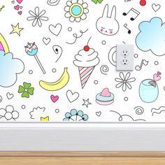 Doodles Sweets and lots of Joy Jumbo - Spoonflower Paper Clip Art, Yard Design, Digital Papers, Cool Wallpaper, Creative Business, Custom Fabric, Quilt Blocks, Spoonflower, Doodles