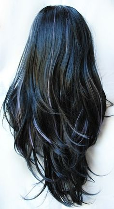 Love how the highlights have been done - blending in from part-way down and on tips instead of all being in lines directly from scalp.    22% OFF - DARK FAIRYTALES wig // Black Purple Lavender Hair // Gothic Goth Emo Straight Long wig. $76.44, via Etsy.