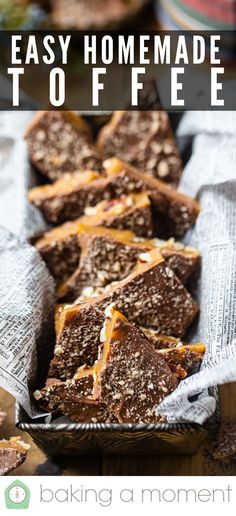 Easy Homemade Toffee Recipe: Made in minutes with just 5 simple ingredients! #toffee #recipe #english #homemade #christmas #butter #chocolate #bark #almond #easy #howtomake #bars #barsrecipe #candy #desserts #pecan #meltinyourmouth #barkrecipes #caramel #recipeeasy #candyrecipe #chocolatebars #dessertrecipes #bakingamoment Homemade Toffee, Homemade Candies, Candy Recipes, Holiday Recipes, Dessert Recipes, How To Make Toffee, Almond Toffee, Toffee Candy, Toffee Recipe