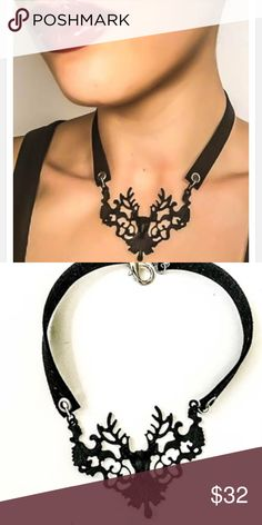 Fairy tale inspired leather choker. The huntsman This leather choker features a deer head ornate pendant. A dark fairy tale piece for the not so pink pretty prince type. Jewelry Necklaces