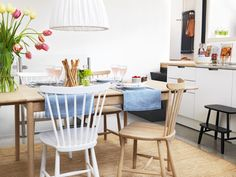norrgavel - love their swedish wooden furniture Kitchen Chairs, Kitchen Dining, Dining Chairs, Dining Area, Dining Room, Leather Chair With Ottoman, House In The Woods, Dinner Table, Wooden Furniture