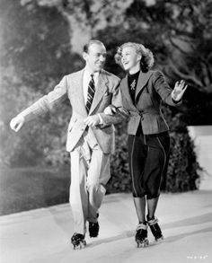 "Fred Astaire and Ginger Rogers skating/dancing to 'Let's Call the Whole Thing Off' in ""Shall We Dance"", 193"