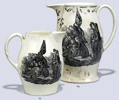 Creamware jugs based on Benjamin West's painting The Death of General Wolfe