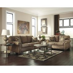 Signature Design by Ashley Larkinhurst Living Room Set in Faux Leather | living room furniture - really like the color of this one