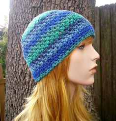 Crochet Hat Womens Hat - Chesapeake Beanie in Spectrum Blue Green Crochet Hat - Blue Hat Blue Beanie Green Hat Womens Accessories Winter Hat