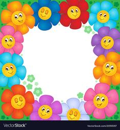Frame From Flowers 1 - Vector Illustration Royalty Free Cliparts, Vectors, And Stock Illustration. Nature Drawing For Kids, Art Drawings For Kids, Boarder Designs, Page Borders Design, Animal Crafts For Kids, Art For Kids, Garden Theme Classroom, Photo Frames For Kids, Boarders And Frames