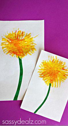 dandelion craft using a fork