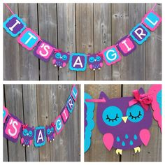 Items similar to IT'S A GIRL Owl banner, pink purple blue owl banner, baby shower decoration, pink purple blue owl baby shower banner, gender reveal on Etsy Baby Shower Card Sayings, Owl Banner, Gifts For Girls, Gender Reveal, Baby Shower Decorations, How To Introduce Yourself, Pink Purple, Diy Gifts, Owl Shower
