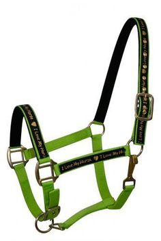 "LIME GREEN Nylon Horse Halter With ""I Love My Horse"" Overlay! NEW HORSE TACK!!"