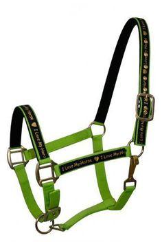 "LIME GREEN Nylon Horse Halter With ""I Love My Horse"" Overlay! NEW HORSE TACK!!"