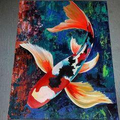 Koi Fish Acrylic Original Painting - x by KBArtDesigns on Etsy… Acrylic Art, Acrylic Painting Canvas, Canvas Art, Acrylic Painting Animals, Koi Fish Drawing, Fish Drawings, Koi Art, Fish Art, Koi Painting