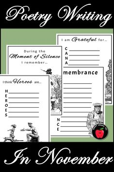 Remembrance Day Writing Art and School Assembly Activities Creative Writing Prompts, Writing Art, Writing Poetry, Elementary Music, Elementary Education, Upper Elementary, Remembrance Day Art, Poetry Activities, Moment Of Silence