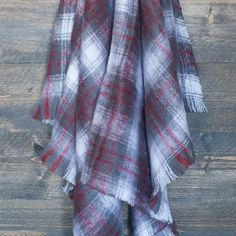 Grey and Red Plaid Mohair Throw - Mohair Throws and Knee Rugs - Sofa Throws - LIVING