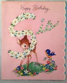 Vintage 1940s Birthday Card Cute Fawn Bambi Deer Sis Sister Gartner & Bender Inc