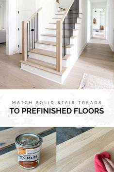 If you go the route of using solid unfinished treads paired with your prefinshed flooring, it can sometimes be tricky to match them. However, we've done this several times and had great results. Stained Staircase, Wood Staircase, Staircase Remodel, Staircase Makeover, Staining Stairs, Flooring For Stairs, Hardwood Stairs, Entryway Stairs, Oak Stairs