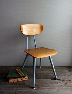 classic wood school chair by ohalbatross on Etsy