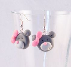 TEDDY BEAR with pink bow polymer clay earrings plus by kingaer