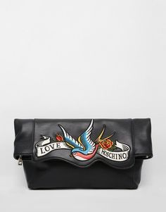 Clutch bag by Love Moschino Real leather Branded lining Embroidered branded  front Fold over style Zip top fastening Internal zip pocket Do not wash  Real ... 52768e1feaa