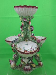 Antique English Porcelain Shell Encrusted Sweetmeat Pickle Stand   eBay