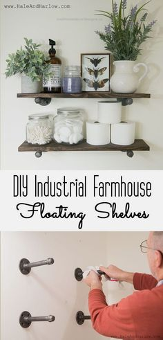 DIY Industrial Farmhouse Floating Shelves – Awesome Tutorial. Can't wait to … DIY Industrial Farmhouse Floating Shelves – Awesome Tutorial. Can't wait to put one in the bathroom. http://www.coolhomedecordesigns.us/2017/06/13/diy-industrial-farmhouse-floating-shelves-awesome-tutorial-cant-wait-to/